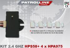 Kit 4 contacteurs sans fils avec récepteur 2.4 Ghz